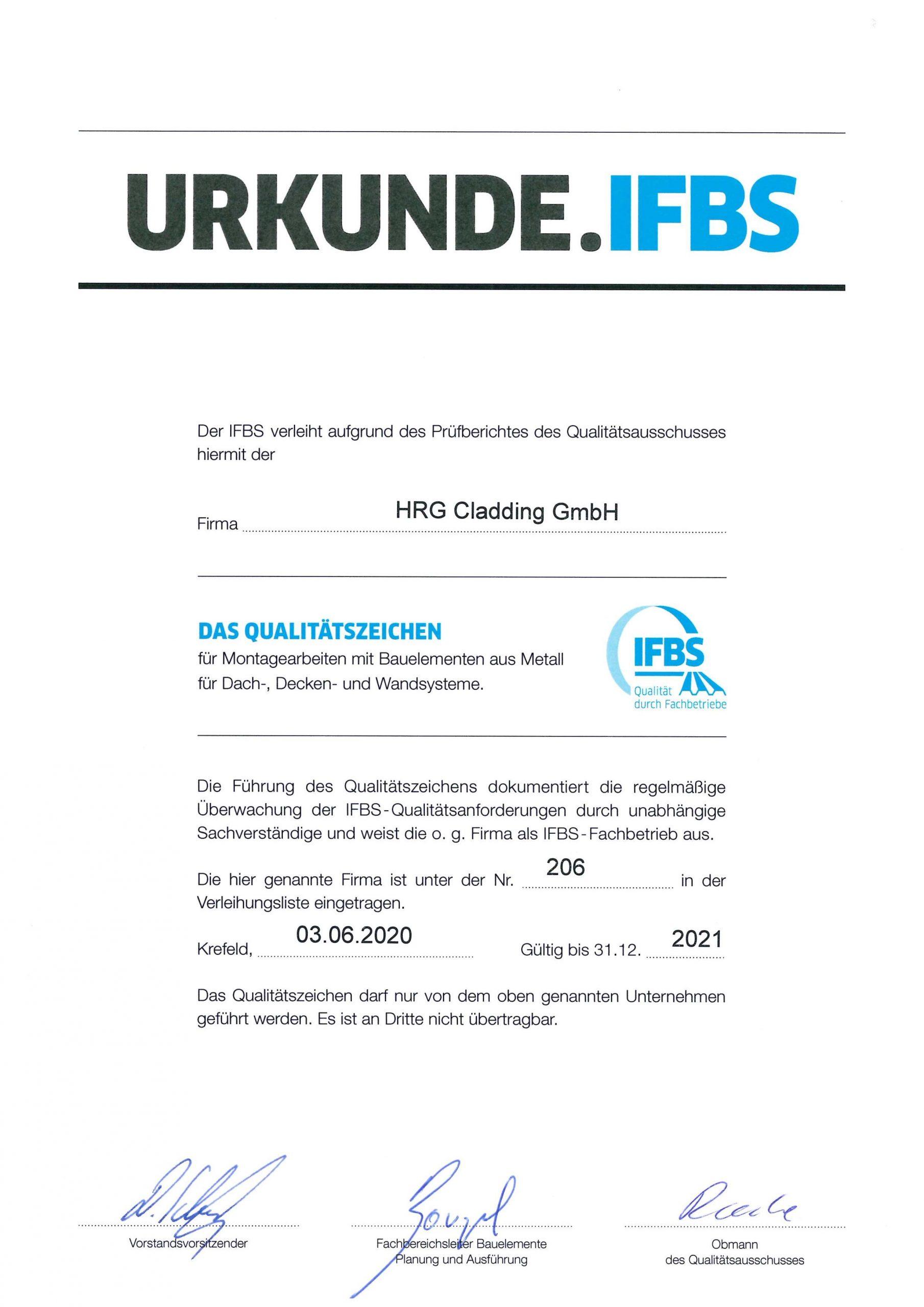 Urkunde IFBS
